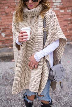 Chunky Knit Poncho | Cella Jane