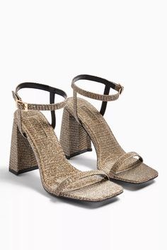 Add some fashionable flair to your shoe-drobe with our gold block flared heel with open toe and ankle strap. Heel height approximately Upper: Polyurethane. High Leg Boots, Grab Bags, Long Toes, Court Shoes, Photos Du, Strappy Heels, Block Heels, Open Toe, Tents