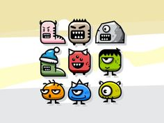 9 Land Monster Game Character Sprite Sheets