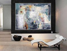 Abstract Modern Wall Decor Art Painting Contemporary art Gray White Modern Canvas painting 36x48