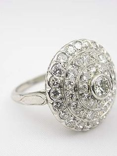 1930's Vintage Engagement Ring, RG-2738a, from Topazery, Diamonds and platinum create a glittering orb of light in this vintage diamond ring. www.topazery.com