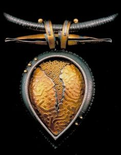 Almond necklace, sterling silver, 24 karat gold and 22 karat gold