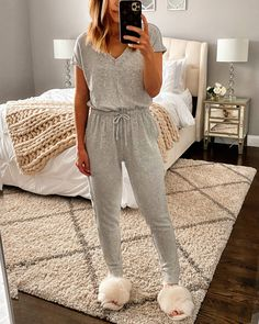 """5 Cozy Must-Haves from Target Since we're all basically living in loungewear for a while I wanted to share a few of my favorites from Target. I have to start with """"the onesie"""" though. Cute Lounge Outfits, Lazy Day Outfits, Basic Outfits, Winter Outfits, Casual Outfits, Cute Outfits, Target Outfits, Loungewear Outfits, Cute Pajamas"""
