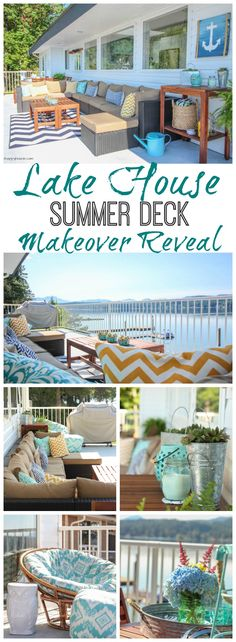 Tons of outdoor decorating ideas and inspiration on this beautiful lake house summer deck makeover reveal and tour