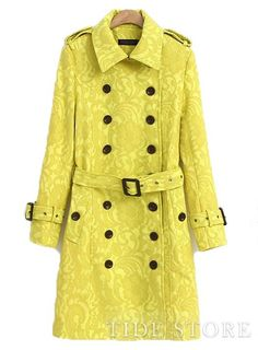 To find out about the Yellow Long Sleeve Epaulet Belt Lace Trench Coat at SHEIN, part of our latest Outerwear ready to shop online today! Double Breasted Waistcoat, Double Breasted Trench Coat, Look Fashion, Fashion Outfits, Apostolic Clothing, Ladylike Style, Yellow Lace, Yellow Coat, Yellow Flowers
