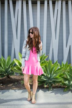 hot pink ruffle hem dress with tularosa griffin jacket and eight fifteen gladiator flats M Loves M fashion blogger @marmar