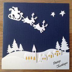 Kerstkaart in blauw met wit. Gemaakt door Anne Marie.