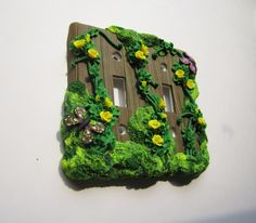 Moss and Roses Light Switch Plate by DawnsClayFantasy on Etsy