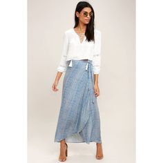 Anniversary White and Blue Striped High-Low Wrap Skirt ($42) ❤ liked on Polyvore featuring skirts, blue, mid calf skirts, wrap skirts, blue and white striped skirt, calf length skirts and stripe skirts
