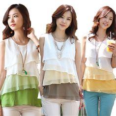 2014 nueva moda casual de la mujer coreana multi capas de gasa sin mangas camisetas tops blusas 3 #l0341074