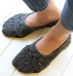 Knitting Pattern for Cloud Nine Ballet Slippers - Seamless slippers feature cable detail on the upper. To fit size: S (M, L, XL)