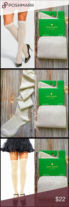 "KATE SPADE TALL SPARKLE SOCKS Over The Knee NEW WITH TAGS  KATE SPADE TALL SOCKS Over The Knee   * Metallic sparkle knit construction  * Stretch-to-fit style  * Banded cuffs   * Approx fits shoe sizes 6-10.5  * About 21"" long  * Lightweight for all seasons   Material: Nylon & 25% metallic fibers Color: Metallic gold Item#:  Boot socks No Trades ✅ Offers Considered*✅ *Please use the blue 'offer' button to submit an offer kate spade Accessories Hosiery & Socks"