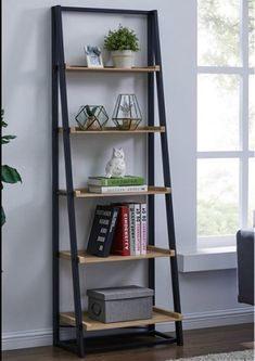Industrial Tall Bookcase Wood Metal Ladder Style Shelving Unit Storage Display - Home Professional Decoration Shelf Furniture, Furniture Design, Metal Furniture, Industrial Furniture, Furniture Nyc, Furniture Ideas, Arrange Furniture, Wood Furniture Living Room, Office Furniture