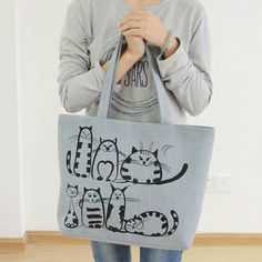 Famous Brands 2016 Cartoon Cats Printed Beach Zipper Bag Bolsa Feminina Canvas Tote Shopping Handbags sac a main femme de marque -- You can find more details by visiting the image link. Canvas Handbags, Tote Handbags, Canvas Tote Bags, Bags Travel, Cat Bag, Cat Accessories, Canvas Shoulder Bag, Zipper Bags, Large Bags
