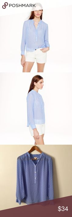 J. Crew Dot Dash Powder Blue Sheer Blouse Top Gorgeous top in excellent like new condition J. Crew Tops Blouses