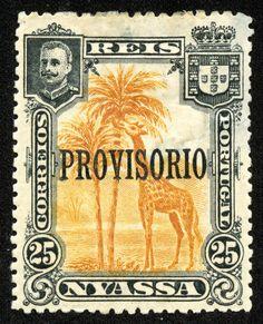 """Nyassa  1903 Scott 43 25r black & orange """"Giraffe"""" Overprinted """"Provisorio"""""""