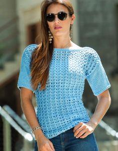 Вязание крючком и спицами - Пуловер с короткими рукавами фантазийным узором