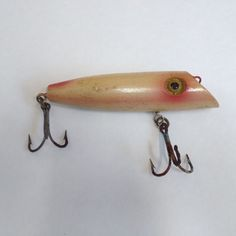 "Vtg CHIX 30s 40s Salmon Plug Wooden Wood Fishing Lure Bait 4 3/8"" Painted eyes  #vintagelures #chix #40s #fishing #fishinglure"