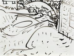 Hans Hofmann (1880-1966) Untitled Landscape circa 1934 India Ink on Paper  8 1/2 x 11in