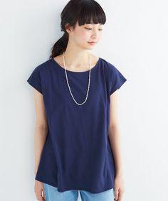 NUSY(ヌージー)のペーパーライク素材のフレアーシルエットトップス(Tシャツ/カットソー)|ネイビー