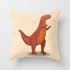 Dinosaur Tyrannosaurus Rex Pillow Cover by krankykrab