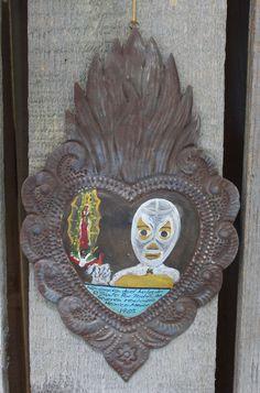 Tin Milagro Ex Voto Painting Lucha Libre & Guadalupe Mexican Folk Art Retablo