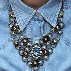 denim with jewelry