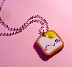 Toast Necklace  Winky Toast Kawaii Jewelry  by kawaiidesune, $12.95