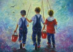 Three Brothers Fishing Art Print three boys by VickieWadeFineArt, $26.00