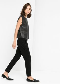 Leather Top, Trousers, Pointed-Toe Loafers