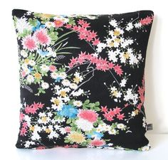 Black Cushion in Botanical Floral Vintage Japanese Kimono Silk NEW for 2016