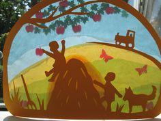 Waldorf Transparentbild Herbst Heuernte. von Puppenprofi auf DaWanda.com