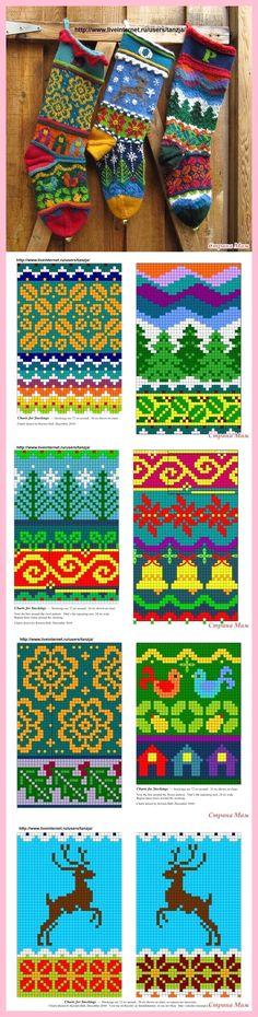 Christmas socks from Kirsten Hall - jacquard -. - knitting - CK - knitting is . Christmas socks from Kirsten Hall - Jacquard -. - Knitting - CK - Knitting is as easy as 3 Knitting boils down t. Fair Isle Knitting Patterns, Fair Isle Pattern, Knitting Charts, Knitting Stitches, Knitting Socks, Baby Knitting, Crochet Patterns, Blanket Patterns, Christmas Yarn