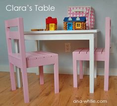DIY Furniture Plan from Ana-White.com  This simple children's play table is easy and economical to build, at the perfect height for toddlers and preschoolers. $17   Plans for chairs are also on Ana's site