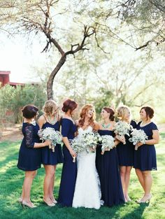Love these mismatched bridesmaids dresses! They are all different lengths and styles. by Brushfire Photography. See more ----- > http://www.thebridelink.com/blog/2014/03/24/cotton-field-wedding-at-the-windmill-winery/