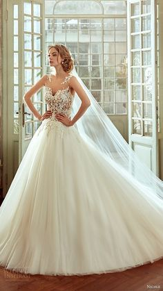 nicole spose bridal 2017 sleeveless illusion jewel neck alin weddng dress Love the illusion neck Dream Wedding Dresses, Bridal Dresses, Wedding Gowns, 2017 Bridal, 2017 Wedding, Cinderella Dresses, Wedding Attire, Beautiful Gowns, Bridal Collection