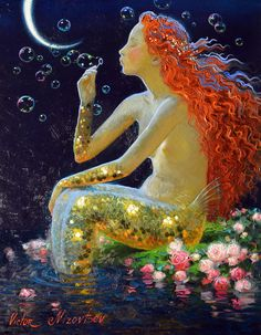 Victor Nizovtsev ( Viktor Nizovtsev ) Victor Nizovtsev is a masterful oil painter of theatrical figurative composition, fantasy, landscapes, and still life. Victor Nizovtsev, Mermaids And Mermen, Mermaid Art, Oil Painting On Canvas, Painting Gallery, Fantasy Art, Illustration Art, Sculpture, Fine Art