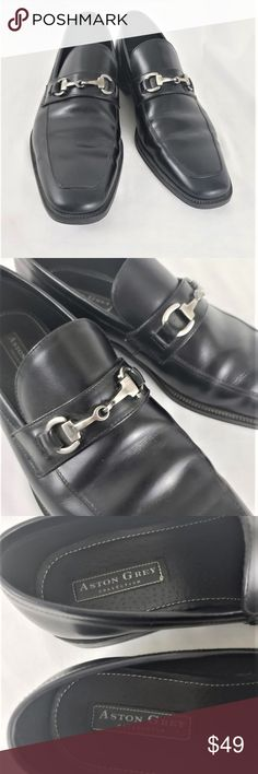 f51d5cbccae Aston grey black soft leather horsebit loafer