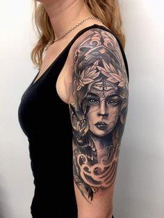 Athena tattoo, half sleeve in progress done by Sam Carter - Gypsy Kids Tattoo