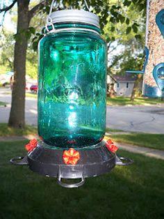 Mason Jar humming bird feeder from Hobby Lobby