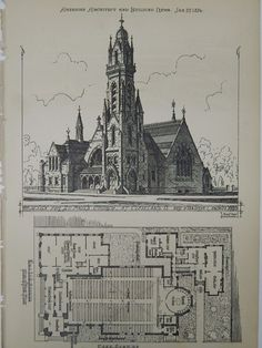 A Beautifully Detailed, Original Plan of a Design for St. Paul's Church in Cleveland, Ohio. Ware & Van Brunt, Architects. From the American Architect and Building News, January 22, 1876. This picture