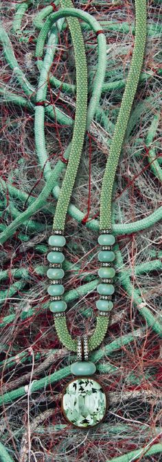 Hemmerle necklace   peridot knit work - tourmaline - turquoises - zircons - brown patinated copper - white gold