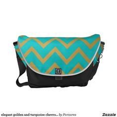 elegant golden and turquoise chevron pattern messenger bags