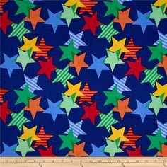 Michael Miller Funfair Stars-A-Lined Royal from @fabricdotcom  Designed by Michael Miller, this cotton print fabric is perfect for quilting, apparel and home decor accents. Colors include red, orange, yellow, green, and shades of blue.