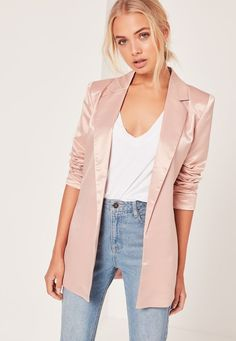 Oversized BlazeR: Channel your ultimate fashion vibes with this oversized soft-pink blazer. You can easily mix and match it to wear at a breezy spring soiree or with warm layers to a winter wonderland ceremony. | Wedding Guest Style: What to Wear to a Wedding When You Don't Want to Wear a Dress