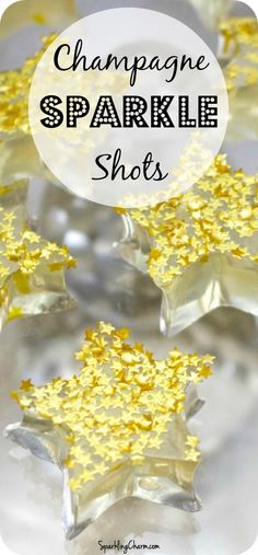 Champagne Jello Sparkle Shots Perfect for a New Year's Eve party! #JelloShots #Champagne #NewYearsEve