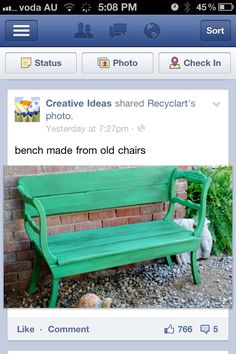 Recycling old chairs into a garden bench seat