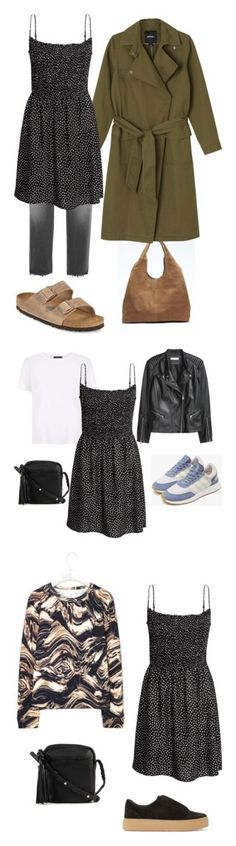 The smock dress in three ways by hannahffm on Polyvore featuring Banana Republic, Monki, Golden Goose, Birkenstock, H&M, The Row, adidas, Liebeskind and COS