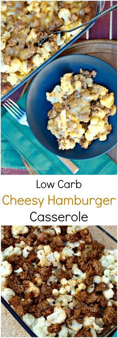 Low Carb Hamburger Casserole made with cauliflower instead of pasta and seasoned with taco spices, and then baked with cheddar cheese!