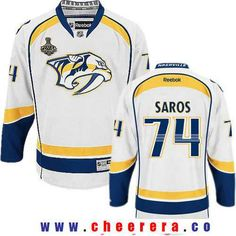 8a56d5fce Men s Nashville Predators Ryan Ellis White 2017 Stanley Cup Finals A Patch  Stitched NHL Reebok Hockey Jersey